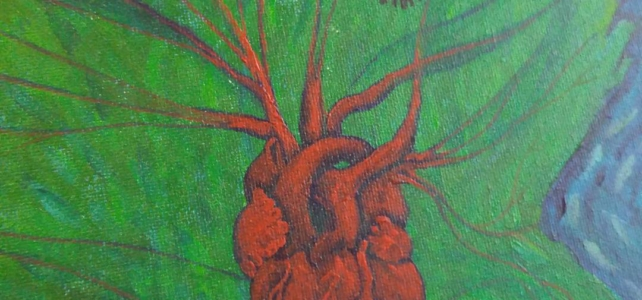 """Detail of a painting I'm working on right now inspired by """"The Warmth of Other Suns"""