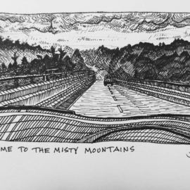 Sketch of our ride back into Asheville yesterday. Back to work tomorrow. Just in time for the weekend