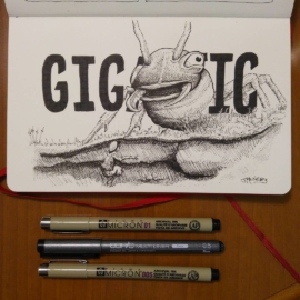 "Inktober day 10 ""Gigantic""  Inspired by a still from the 1954 film ""Them"