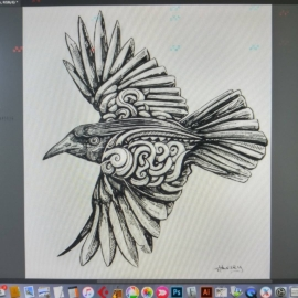 Taking a 5 minute break to do a little clean up on this soon to be tattoo for the wifey.@aniliaj