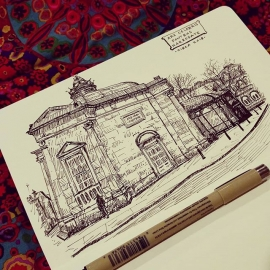 Sketch of the Royal Pump House Museum in Harrogate.