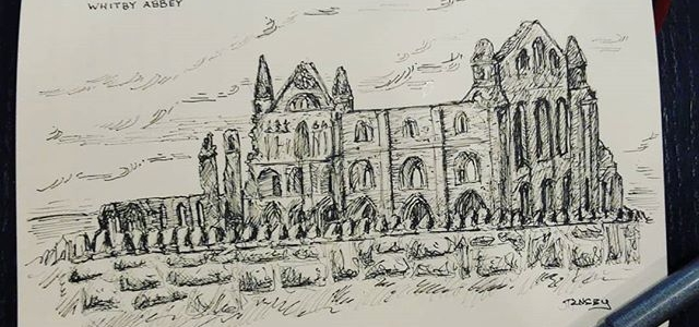 Quick breakfast sketch of Whitby Abbey