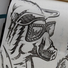 A little preliminary sketching. Because today its my job to draw a pig in rhinestone glasses welding. I wouldn't want it any other way