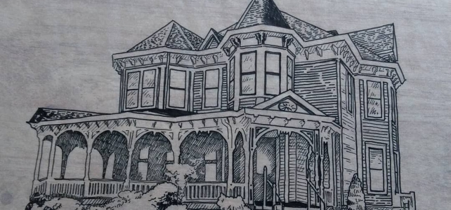 Architectural illustration in ink