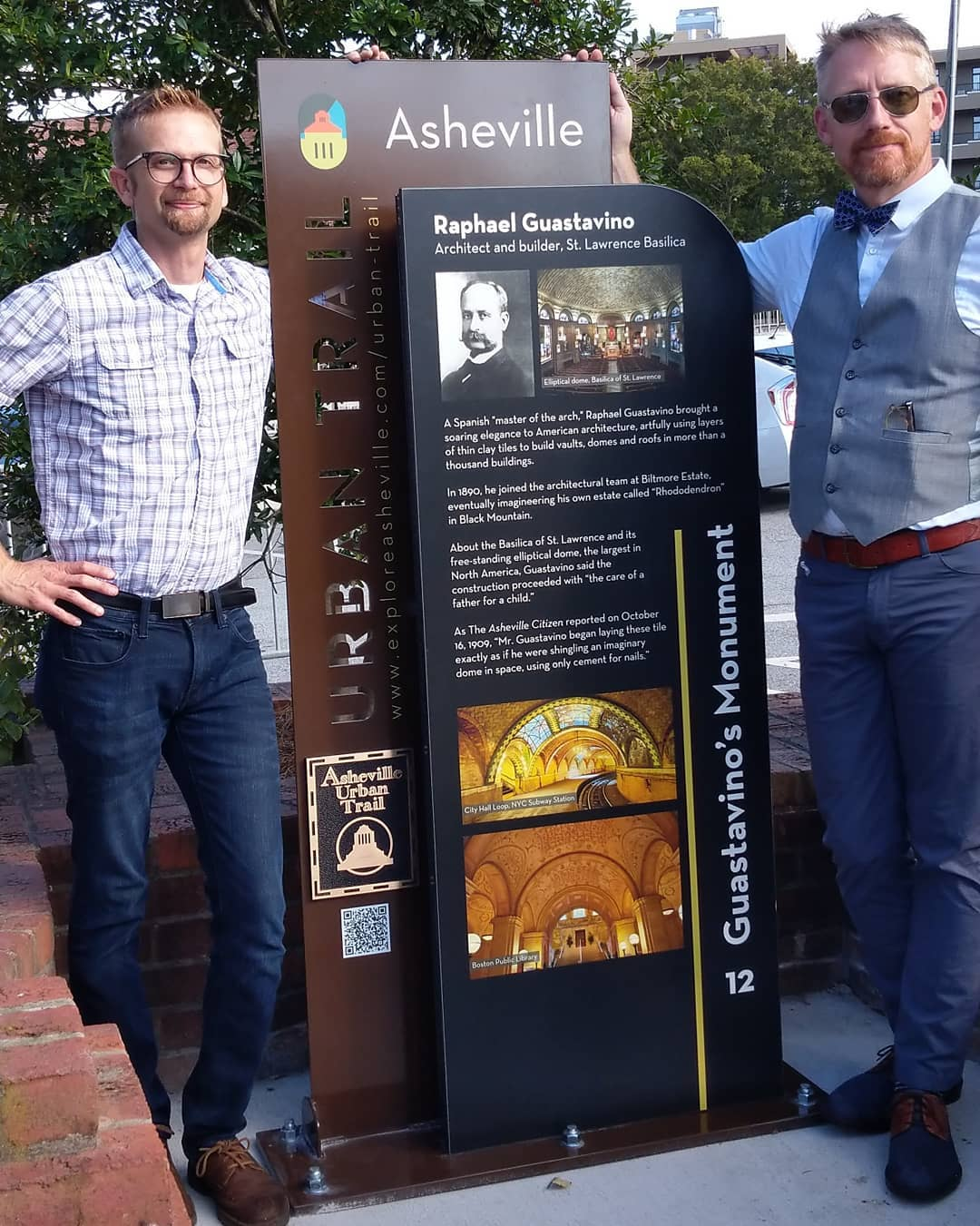 Recent sign designed, engineered and fabricated in collaboration with @giganticavl, @chukkb & @allegraasheville with and for the @cityofasheville and @avldowntown as part the Urban Trail project.  Feeling grateful for the opportunity to help honor the legacy and genius of architect Raphael Guastafino. If you don't know who that is, look him up. Much respect is due.  You can find it in front the Basilica of St. Lawrence, right by the Love Asheville mural which was the first project I did with Scott Smith a year ago.  I'm pretty proud of this one and what we've accomplished in this  year in general.  Onward