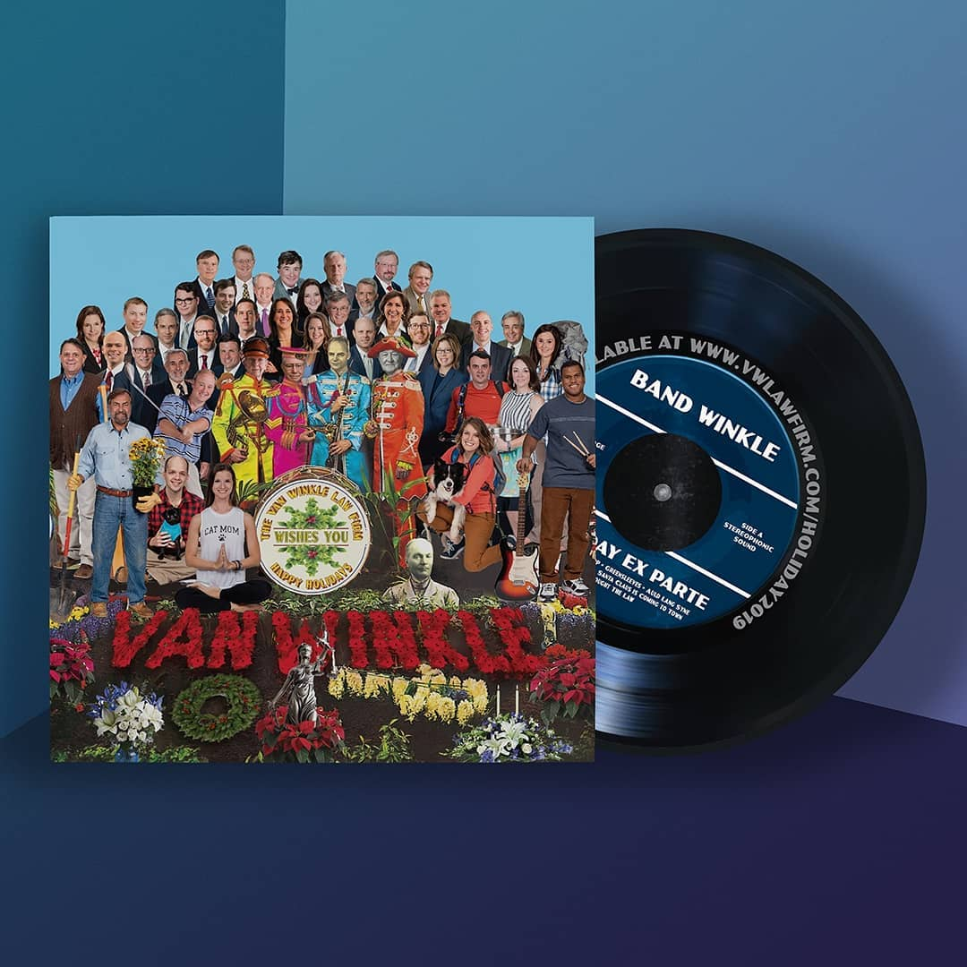 "Last year I was tapped to design the holiday card for the Van Winkle Law Firm.  Interestingly, many of the lawyers are also musicians and each year they record a holiday song. One of the requirements of the brief was that a lot of the members of the firm had to be represented. It was also the 50th anniversary of Sgt Peppers. So I pitched the idea of the holiday card being a ""record"" that played off of the classic album design. It included a printed insert that had download instructions for listening to their collection of holiday tunes.  This was definitely one of my favorite projects from last year"