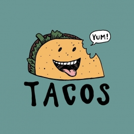 This week as part of art class, my 7 year old daughter and I designed a logo for tacos together. 🌮