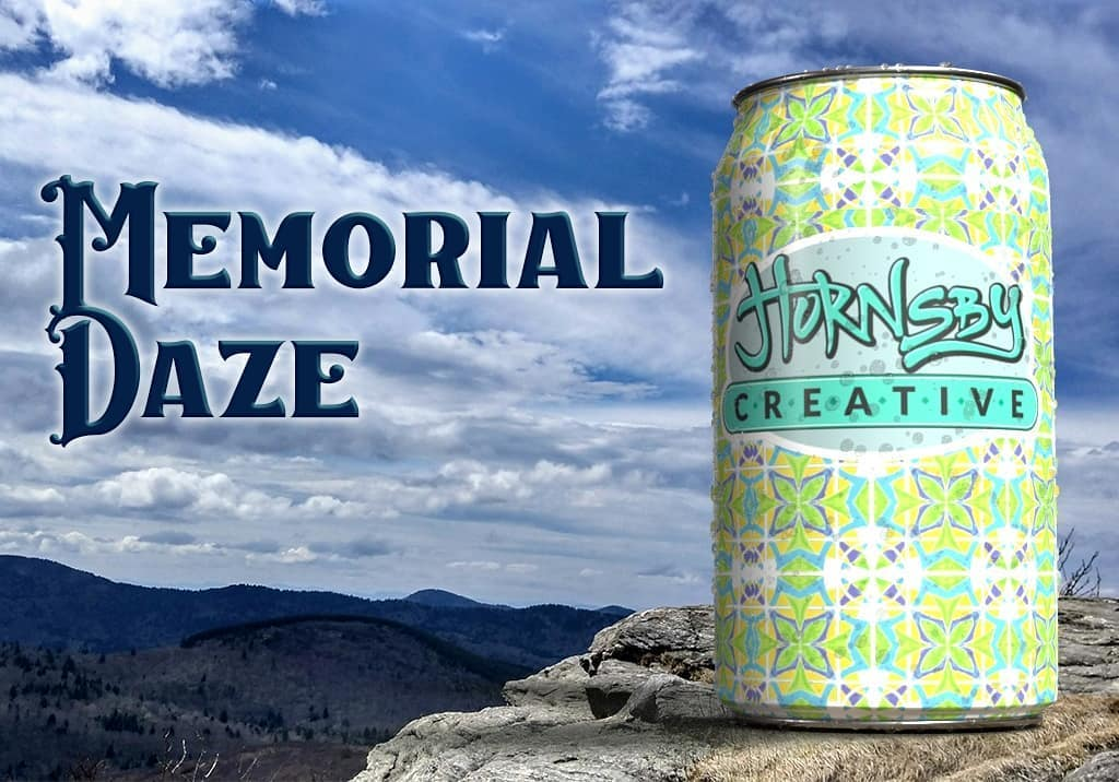 Fresh newsletter on tap today. Link in bio.  Raising a chilled can in memory of those who have made the ultimate sacrifice for our way of life. Let's honor that with our choices and respect for each other.  The can pattern in this mockup started as a geometric watercolor I did. I then vectorized it and turned it into a pattern. Then I mapped that onto this three dimensional can and superimposed it into a photo I took at Black Balsam. The font used here is Caravan
